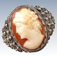 Vintage Ornate High Relief Cameo 900 Silver Ring