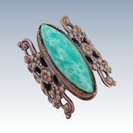 "Vintage Large Ornate ""Peking Glass"" Bohemian Czech Ring"