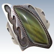 Vintage Lustrous NATIVE AMERICAN Sterling Silver Hawk's Eye Ring Unisex