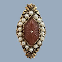 Vintage HOLLYCRAFT Victorian Revival Style Faux Carnelian & Pearls Ring Adjustable