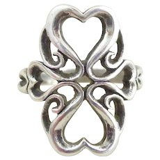 JAMES AVERY Sterling Silver Scrolling Hearts Ring Sz 6