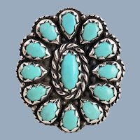 Vintage Sterling Silver Southwest CAROLYN POLLACK Turquoise Cluster Ring Sz 10