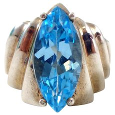 Estate Sterling Silver Modernist Vibrant Blue Topaz Ring Sz 6.25