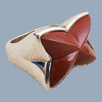Designer Whitney Kelly WK Sterling Silver Red Jasper Ring Sz 8