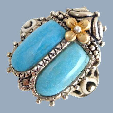 Barbara Bixby Egyptian Revival Scarab Sterling Silver 18K Ring Sz 8
