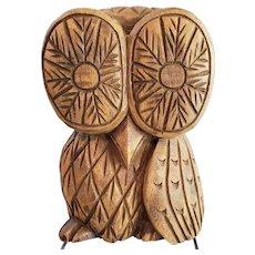 Vintage Retro Carved Wooden Owl Big Eyes Folk Art Sculpture