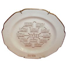 "1956 10"" advertising plate. Warranted 22kt gold trim. Pla-mor Ballroom from Lincoln Nebraska.  ""The Sabina Line"""