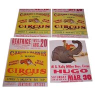 """Group of four Carson and Barnes CIRCUS POSTERS dated in pen """"1969"""" on the back. Hugo Colorado, Herrin Illinois, Russellville Alabama and Beatrice Nebraska"""