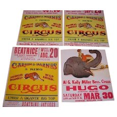 "Group of four Carson and Barnes CIRCUS POSTERS dated in pen ""1969"" on the back. Hugo Colorado, Herrin Illinois, Russellville Alabama and Beatrice Nebraska"
