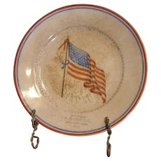 1925 vintage advertising plate. A. B. UDE CO. Deshler Nebr. featuring 48 star American Flag