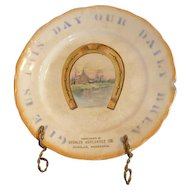 """8.5"""" advertising plate. Give Us This Day Our Daily Bread Deshler Mercantile Co. Nebraska"""