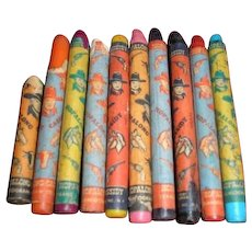 9-1/2 Hopalong Cassidy western vintage crayons