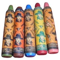 FIVE Hopalong Cassidy jumbo crayons western motif cowboy pistols