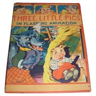 Three Little Pigs in Flashing Animation children's book. Hank Hart cover. 1944 edition
