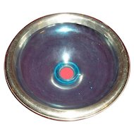 RARE vintage Dental Dentist aqua or blue glass Spittoon or spitting bowl with nickel cast chrome decorative ring.
