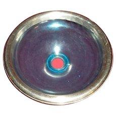 RARE vintage Dental Dentist aqua or blue glass Spittoon or spitting bowl with nickel cast chrome decorative ring.