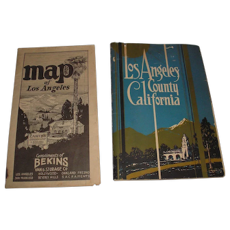 1927 Bekins map of Los Angeles and 1931 Los Angeles County brochure booklet