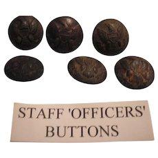 Group of six Civil War era dug Staff Officer's buttons. Eagle brass uniform.