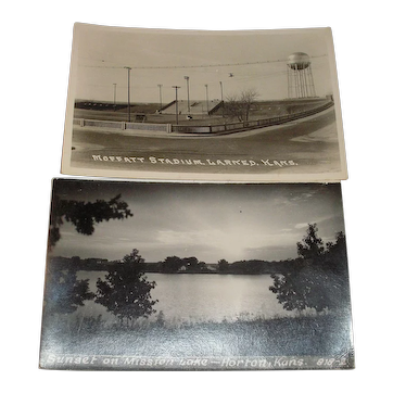 A pair of Kansas picture photograph post cards.  Moffatt Stadium, Larned and Mission Lake, Horton