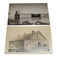 A pair of Nebraska picture postcards photograph.  1867 First Nebraska State Prison and Kingsley Dam near Ogallala