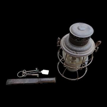 St. Joseph and Grand Island RY ST J & GI railroad lantern, brass keys, chisel sleeper or conductor