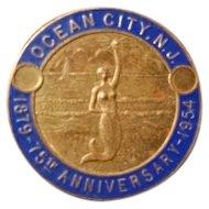 1879 - 1954 Seventy Fifth Anniversary Ocean City New Jersey NJ brass cloisonne commemorative coin