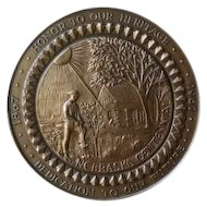 Nebraska Centennial 1867 - 1967 brass commemorative coin. Honor to our Heritage - Dedication to our Future