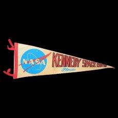 NASA Kennedy Space Center Florida vintage felt banner pennant
