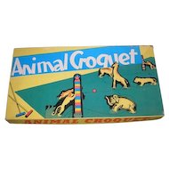 ANIMAL CROQUET vintage 1940's era table game.