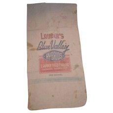 Seed corn sack. Lauber's Blue Valley Hybrids from LAUBER'S SEED FARMS Geneva Nebraska.  One Bushel cloth bag.