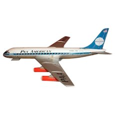 E.T. Co. Japan tin lithograph toy Pan American battery operated airplane N801PA