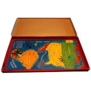 1961 vintage International AIRPORT GAME by Magic Wand. Magnetic airplanes and metal lithograph tin board map.