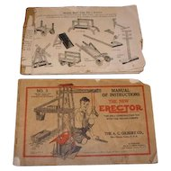 Set of two Erector Set instruction and assembly manuals.  No. 1 and No. 3 books.  No. 10 Classic Period set for 1931-1932