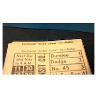 Dozen Council Bluffs Transit Company street or horse car ticket stubs. Southwest Globe Ticket Company - Dallas