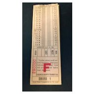 Twelve *OMAHA 1* Council Bluffs Transit Company street or horse car ticket stubs.  Globe Ticket Company of Mo., St. Louis