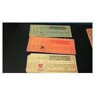Nine Omaha & Council Bluffs  STR. RY. CO. street or horse car ticket stubs. O&CB Globe Ticket Company of Mo., St. Louis