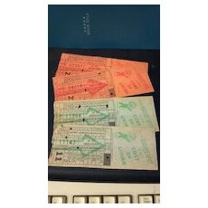 Ten Omaha & Council Bluffs Str. Ry. Company bus, street or horse car ticket stubs. Globe Ticket Company - Kansas City, Mo. Bright Spot token.