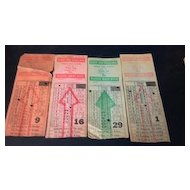 Four Omaha & Council Bluffs Str. Ry. Company bus, street or horse car ticket stubs. Globe Ticket Company - Kansas City, Mo.
