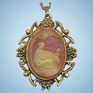 Vintage Cameo Necklace Mirror Reversible Gold Tone Bowl Fruit Woman Carnelian