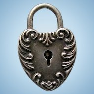 Antique Victorian Padlock Lock Heart Charm Sterling Silver Hallmarked