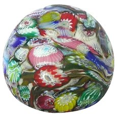 Vintage Murano Millefiore Art Glass Paperweight Satin Fratellli Toso Murrine Design