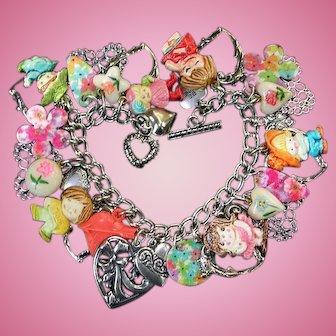 Vintage Heart Charm Bracelet Children Kids Cracker Jack Love Flowers Kitsch Boho