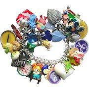 Vintage Chunky Heart Charm Bracelet Whimsical Cracker Jack Toys Muppets Frogs Kids Kitsch Style