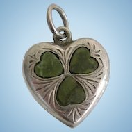 Antique Sterling Silver Heart Charm Irish Connemara Marble Clover by Joseph Cook & Son