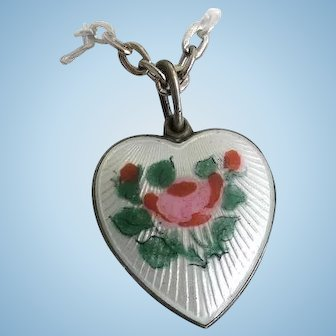 Vintage Sterling Silver Guilloche Enamel Rose Flower Heart Charm Pendant Necklace Double Sided