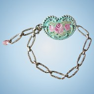 Victorian Style Hand Painted Roses Heart Cuff Bracelet Silver Etched Chain
