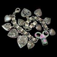 Bookchain Heart Charm Bracelet Enamel Flowers Watch Key