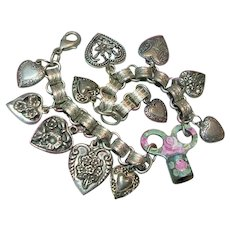 Vintage Heart Charm Bracelet Book Chain Hand Painted Roses Watch Key Steampunk B'sue by 1928 Company