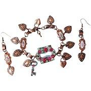 Hand Painted Enamel Floral Rose Heart Charm Bracelet Book Chain Parure Earrings Lock Key