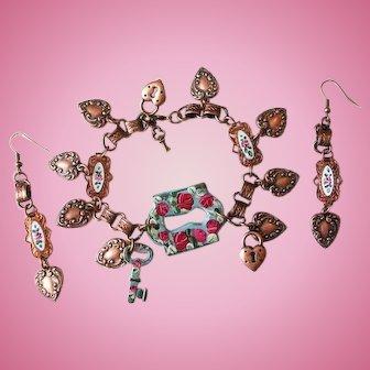 Heart and Key Lock Charm Bracelet Hand Painted Roses Guilloche Enamel Earrings Parure Set